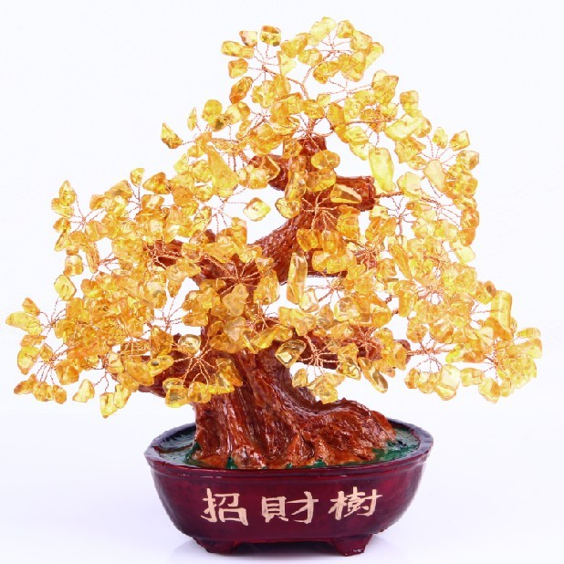 Hope pavilion genuine citrine crystal tree lucky tree pachira money tree ornaments crystal