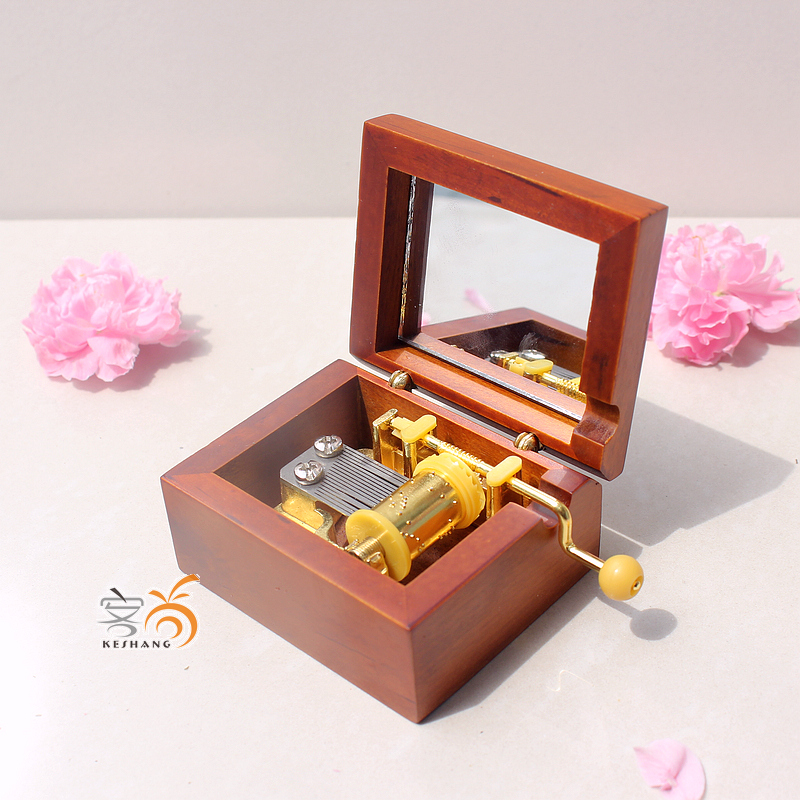 Can be engraved golden movement cranked wooden music box wooden music box laputa halloween birthday gift