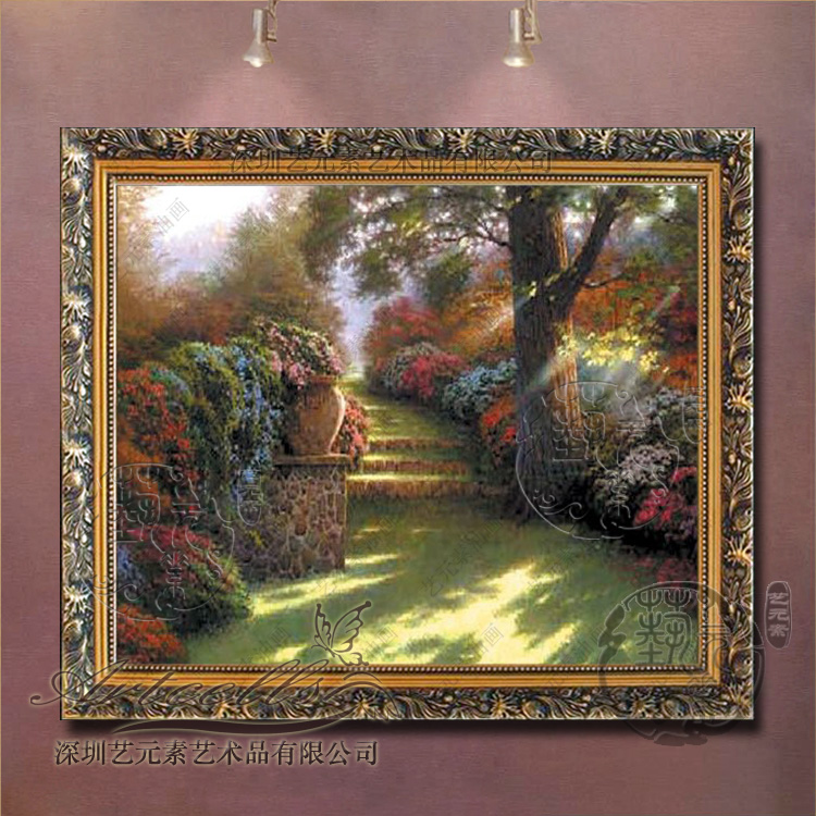 Painted landscape oil painting framed painting of european decorative painting the living room dining bedroom villa thomas garden view t068