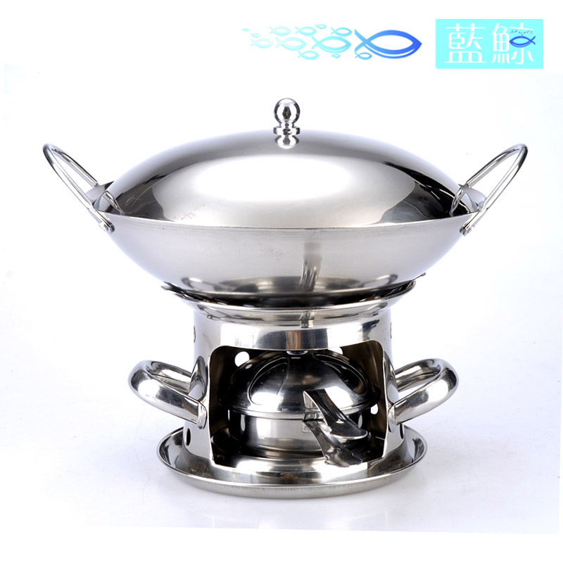 Blue whale special thick windproof stainless steel tower (liquid) bar tripod pot solid alcohol stove griddle adjustable firepower