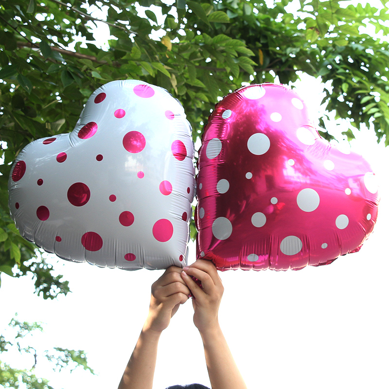 18 inch love dot aluminum balloons heart shaped balloon foil balloons birthday party wedding decoration valentine's day marriage proposal