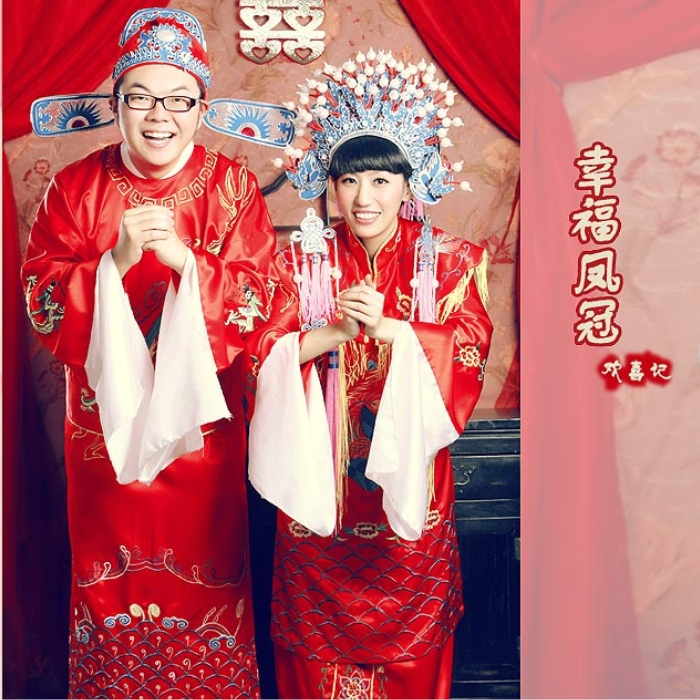 Darling of the new red hi dragon chinese bride and groom dress wedding dress wedding dress coronet xiapei