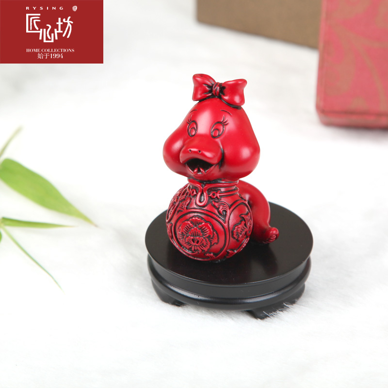 Ingenuity square twelve lunar new year of the snake mini ornaments wishful classical arts and crafts birthday holiday gift decoration cute desk workers