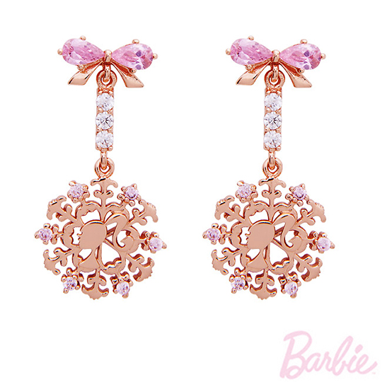 [Barbie] barbie pink snowdays winter girls earrings