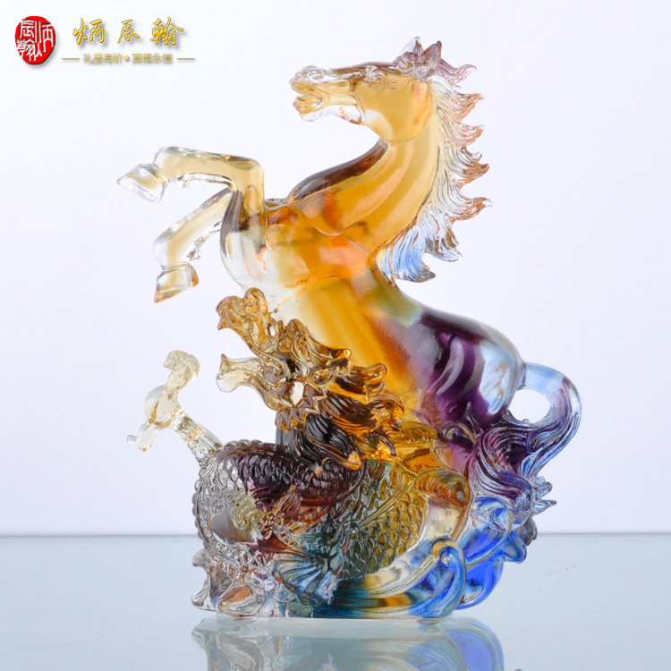 Bing chen han glass ornaments ma spirit business home decoration ornaments year of the monkey mascot horse ornaments