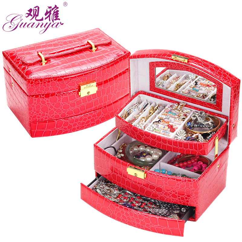 Concept ya jewelry box leather 642-59 large automatic box cosmetic box jewelry box princess european court