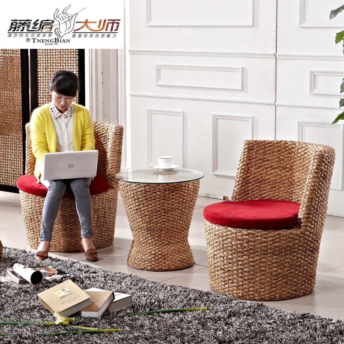 Outdoor patio balcony rattan wicker chair rattan sofa single sofa chair lounge chair three sets of factory special