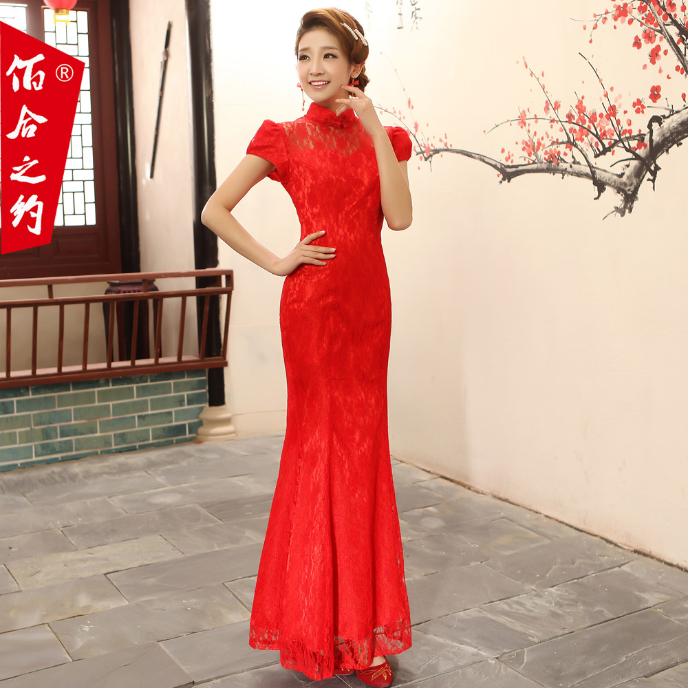 2013 new cheongsam dress fashion bride wedding toast improved cheongsam dress short sleeve dress evening dress long section of the complex gulei si red