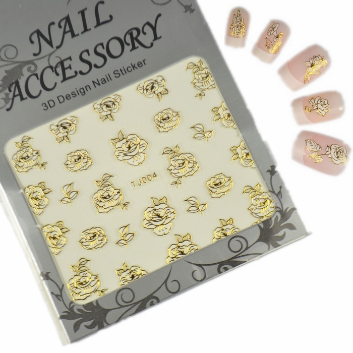 Saint nail sticker nail decals jewelry gold with adhesive 2d color t.j. platinum series 24 models