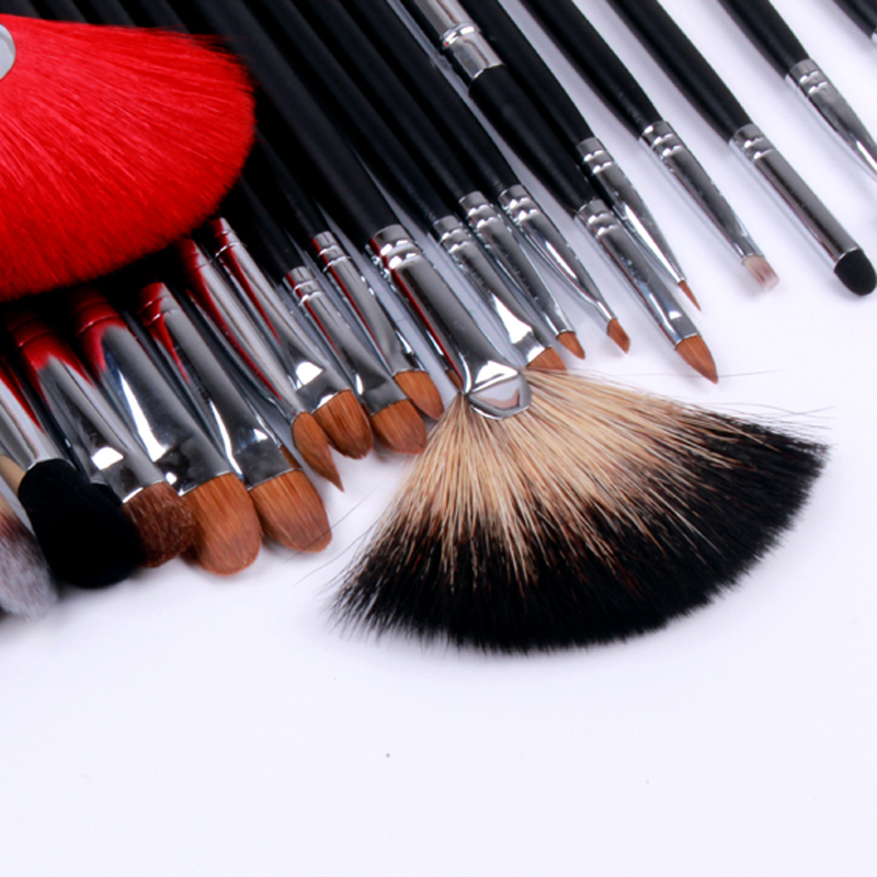 Lexni24 natural animal hair makeup brush set professional makeup tools brush mixed wool yellow wolf tail hair
