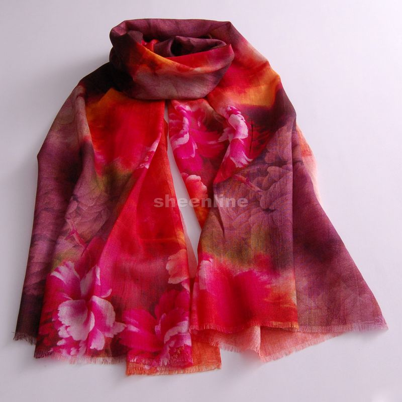 Sheenline stylish and elegant red digital inkjet printed wool scarf shawl scarves wild flowers and comfortable