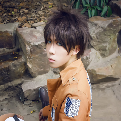 The magic cosplay wig attack on titan-allen · yeager cos anime dark brown short hair