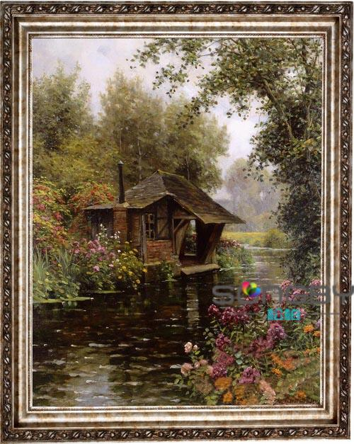Pine oil painting handmade oil painting of european decorative painting framed painting the living room entrance mural 《 》 river landscape