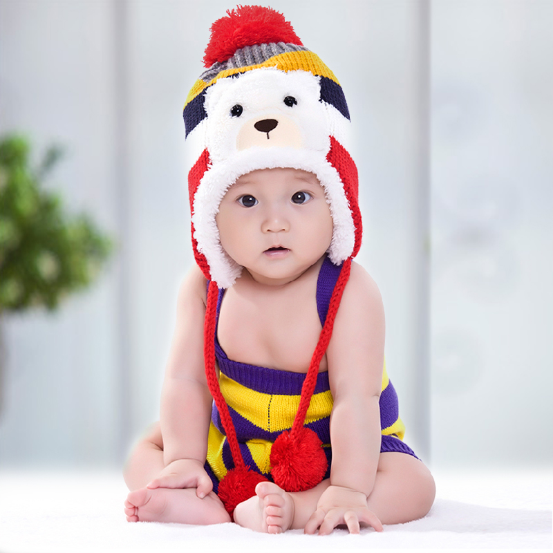 Thick winter baby cartoon hedging plus velvet ear cap child hat boys and girls knitting needle cap child cotton baby hat