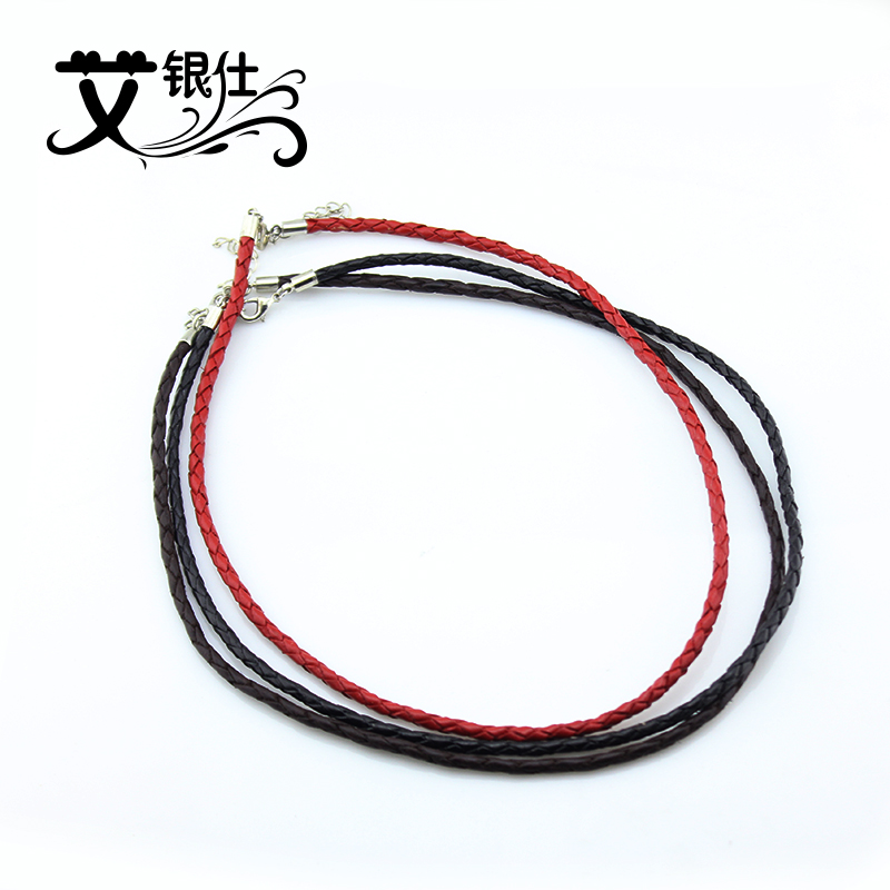 Ai yinshi diy jewelry accessories woven genuine leather black leather rope necklace rope necklace rope direct necklace