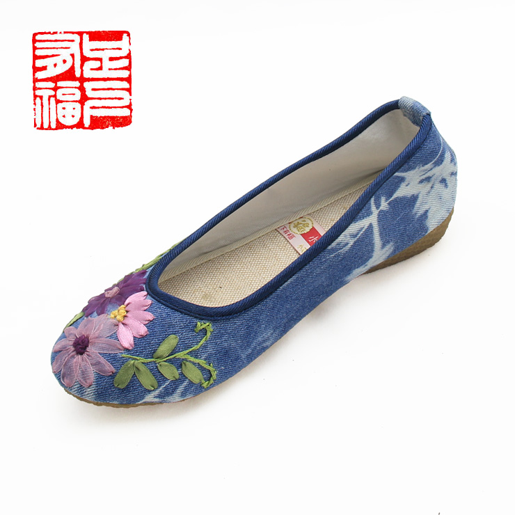 Blessed with a single step ã] small garden embroidered shoes ethnic shoes tendon at the end shoes denim shoes a603-1