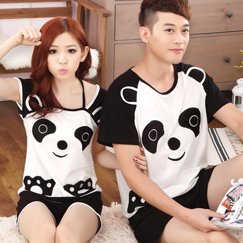 2 set the price of a couple summer cotton pajamas thin section of men's women's summer short sleeve pajamas cute tracksuit suit