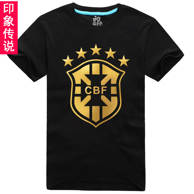 2014 new football legend impression bronzing sleeved t-shirt brazil ball sleeve clothes korean version of the influx of men and women free shipping