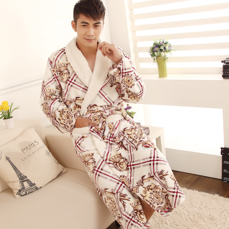 2015 autumn and winter long section of men male models thick coral velvet pajamas flannel nightgown bathrobe bathrobe