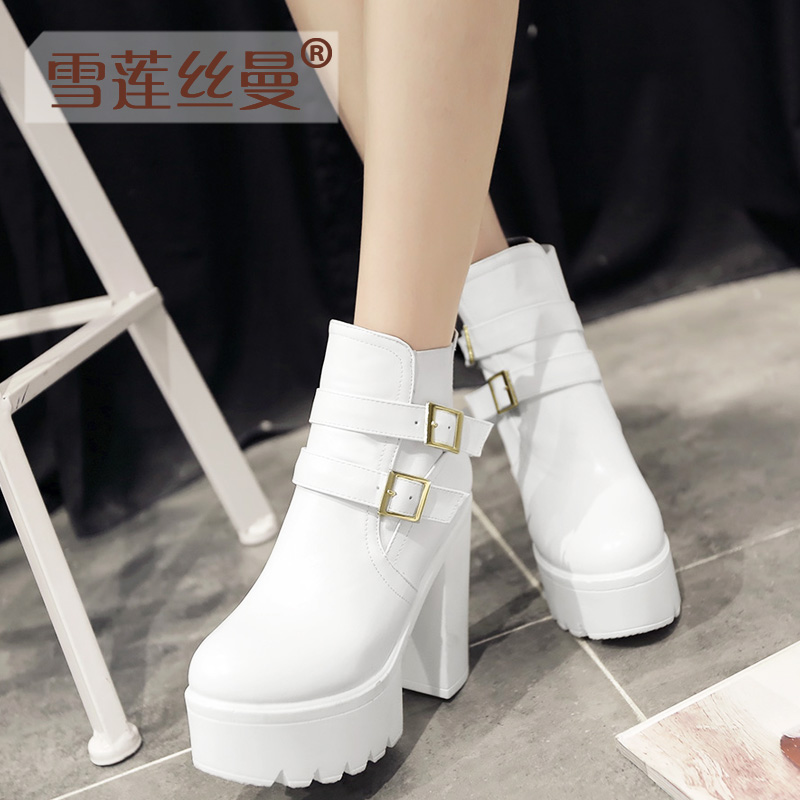 2015 autumn and winter thick crust waterproof heels rough with short boots white boots martin boots england autumn and winter boots tide boots black female boots