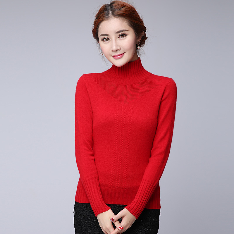 2015 autumn new cashmere sweater and a half high collar hedging sweater sweater bottoming simple high multiple color cashmere sweater women