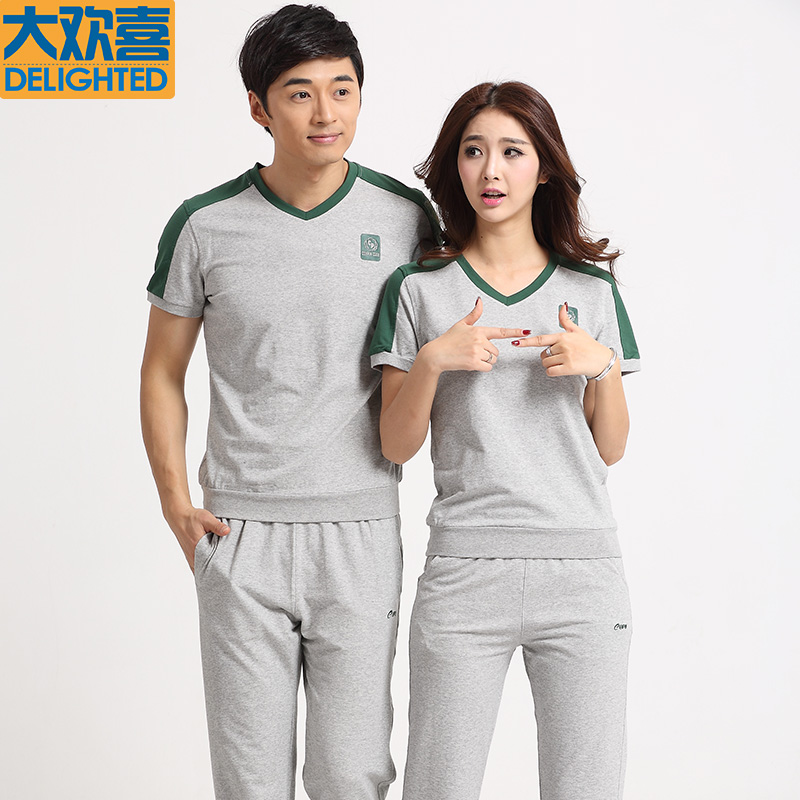 2015 hot summer female thin short sleeve v-neck sweater hedging couple models sportswear casual male sports pants suit with disabilities