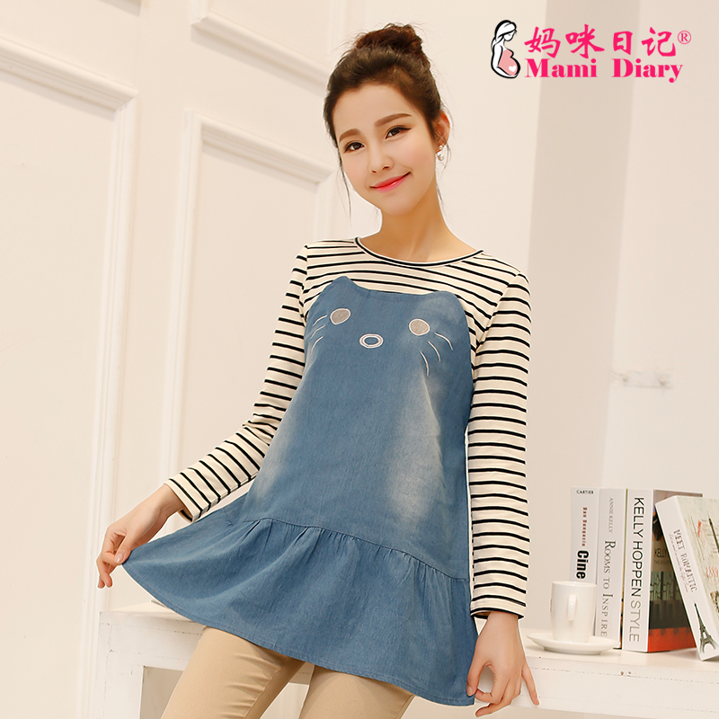 2015 korean version of the cute striped denim care of pregnant maternity tops spring and autumn long sleeve t-shirt and long sections mommy diaries
