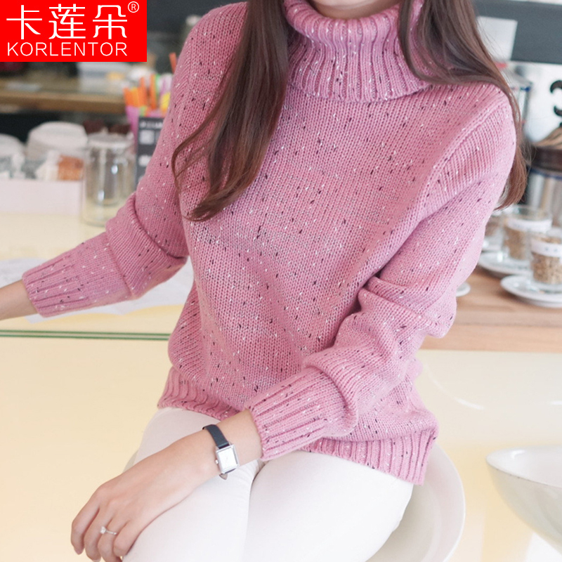 Get Quotations · 2015 new autumn and winter women's fashion wild loose long sleeve turtleneck sweater turtleneck sweater bottoming