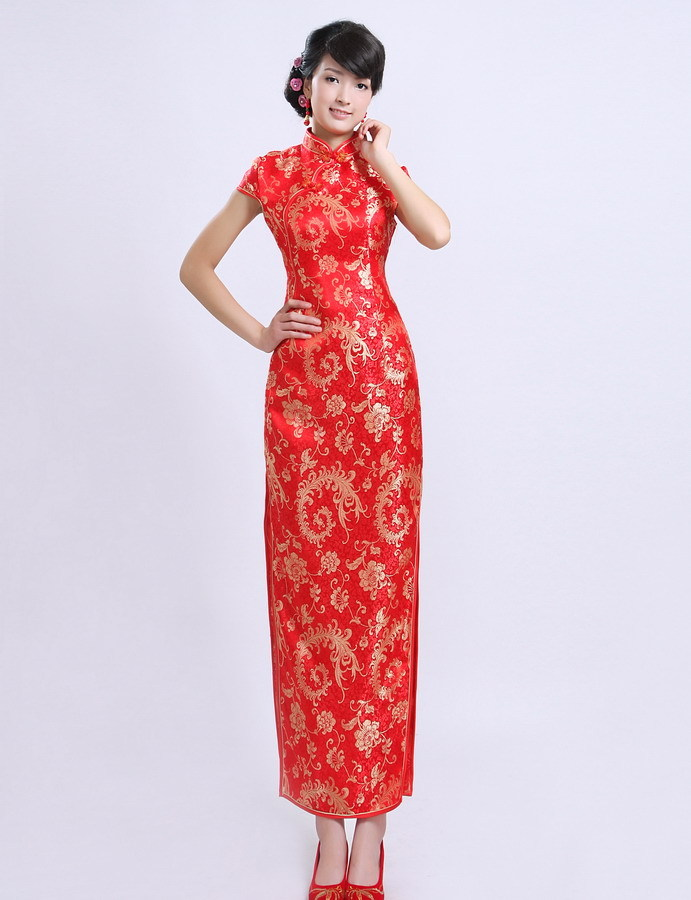 2015 new bride cheongsam dress modified cheongsam autumn and winter bride cheongsam dress toast the bride cheongsam red long section