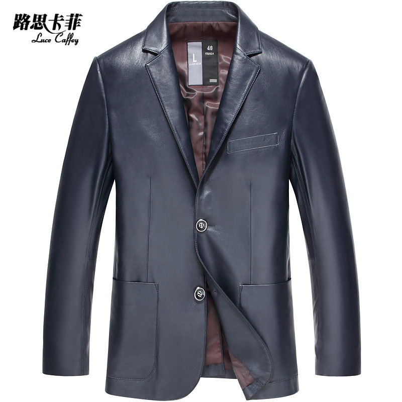 2015 new leather leather men's suitè·¯æå¡è²æµ·å®male haining sheep skin leather suit single