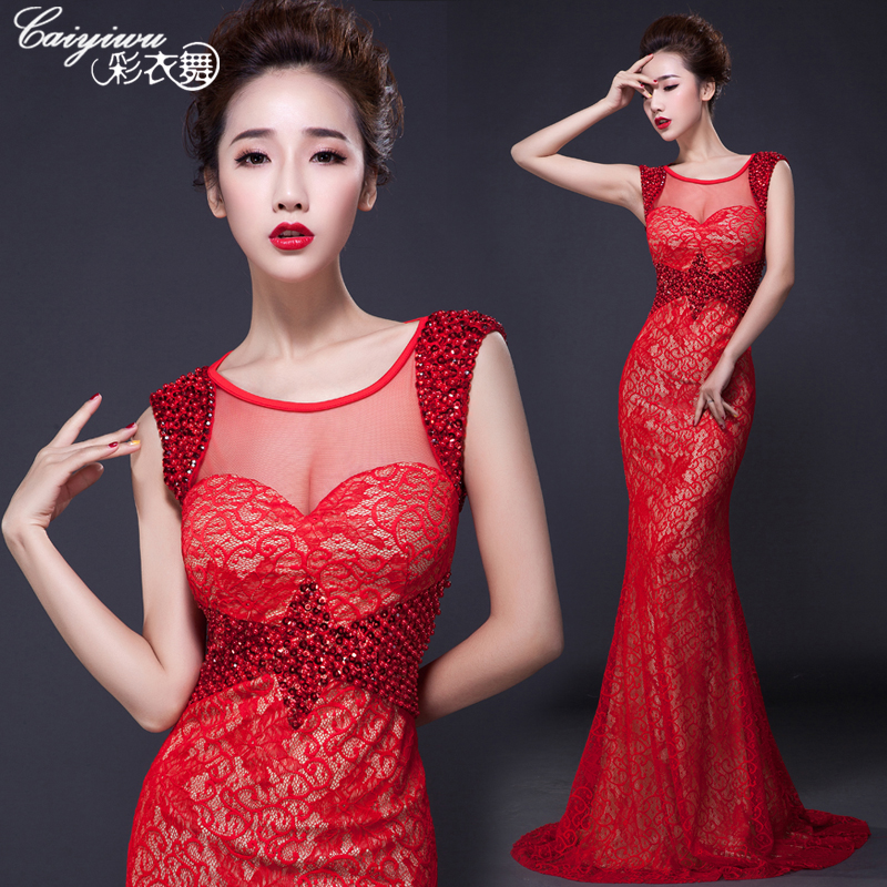 2015 new wedding dress bridal dress wedding toast clothing slim long evening dresses annual meeting banquet