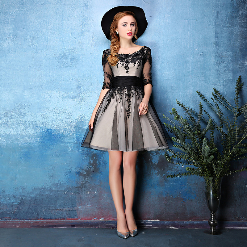 2015 new winter word shoulder evening dress black lace sleeve dress short paragraph hosted the annual meeting costumes