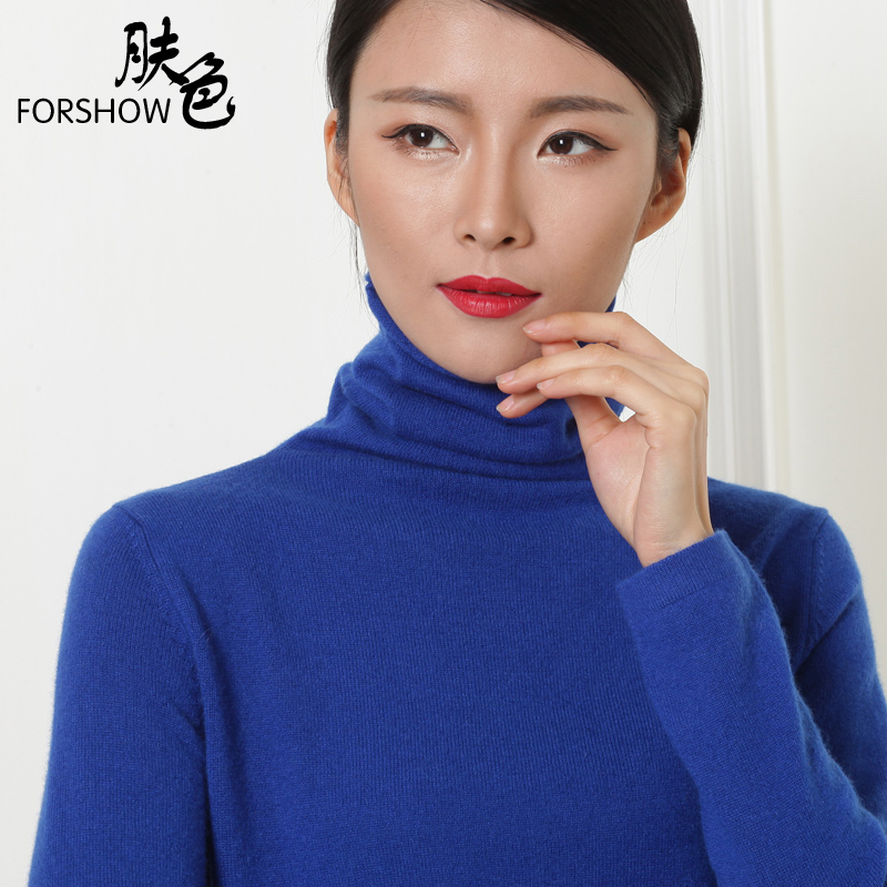 2015 spring new pure mountain cashmere sweater female high collar hedging sweater solid color cashmere sweater piles collar bottoming shirt female