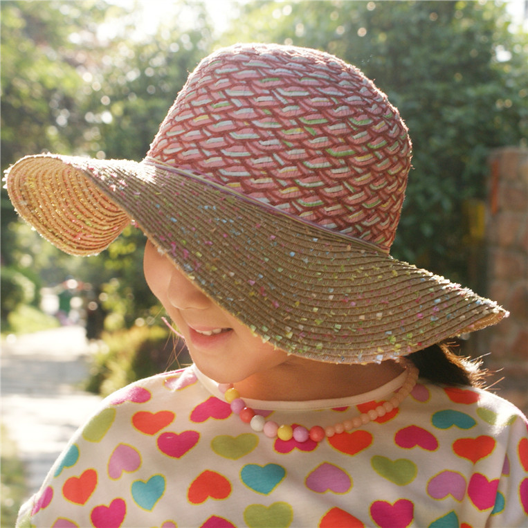 080132ebee5 Get Quotations · 2015 summer new children go out to play cute bow hat straw hat  color baby hat