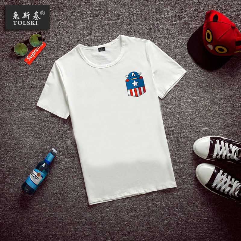 2015 summer new small clearing new men's short sleeve t-shirt pocket super class heroes avengers t-shirts for men and women tide