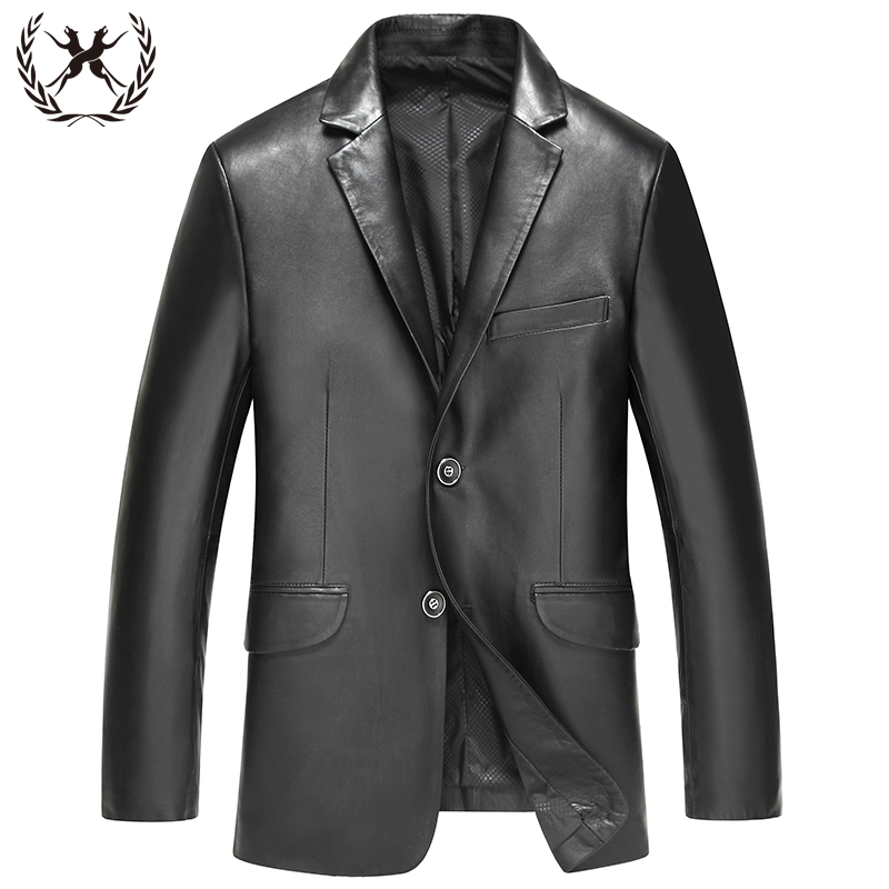 2015 winter new haining leather leather male sheep skin leather leather slim long section collar men's single suit