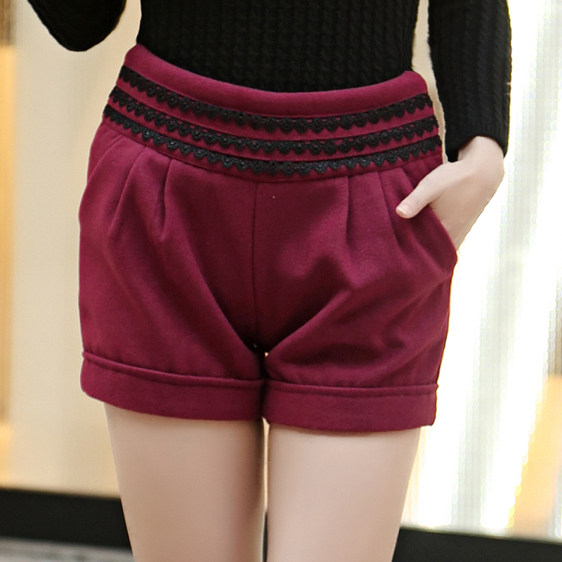 2016 autumn and winter bottoming casual woolen shorts female winter boots pants slim was thin waist big yards plus thick woolen