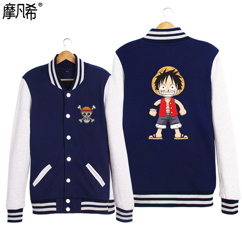 2016 autumn and winter new one piece luffy station baseball uniform cardigan sweater male korean student short coat female tide