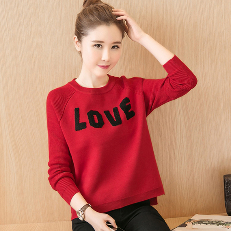 2016 autumn coat korean version of love love letters hedging sweater big red shirt long sleeve sweater female students