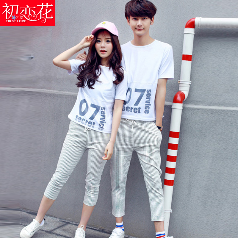 2016 autumn couple of men and women pants seventh summer casual short sleeve t-shirt shirt sports jacket dress junior high school students in class service