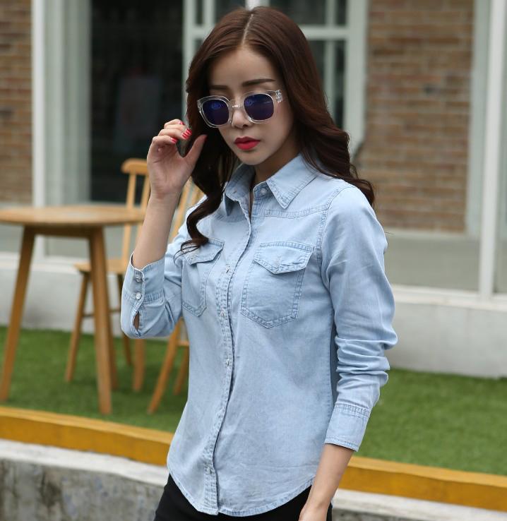 7e073d02be2 Get Quotations · 2016 autumn long sleeve denim shirt female thin section  cotton big yards denim shirt slim korean
