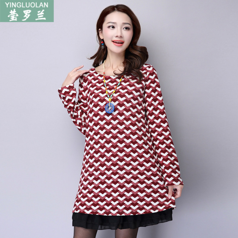 2016 autumn long sleeve dress fat mm fat sister fertilizer to increase size women fat sister was thin loose skirt bottoming