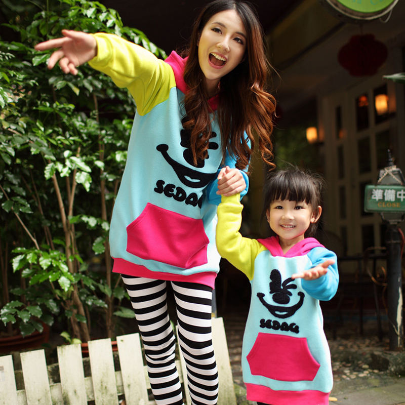 2016 autumn mother dress mother of women family fitted sweater leggings sets of multicolored smiley family fitted autumn child models
