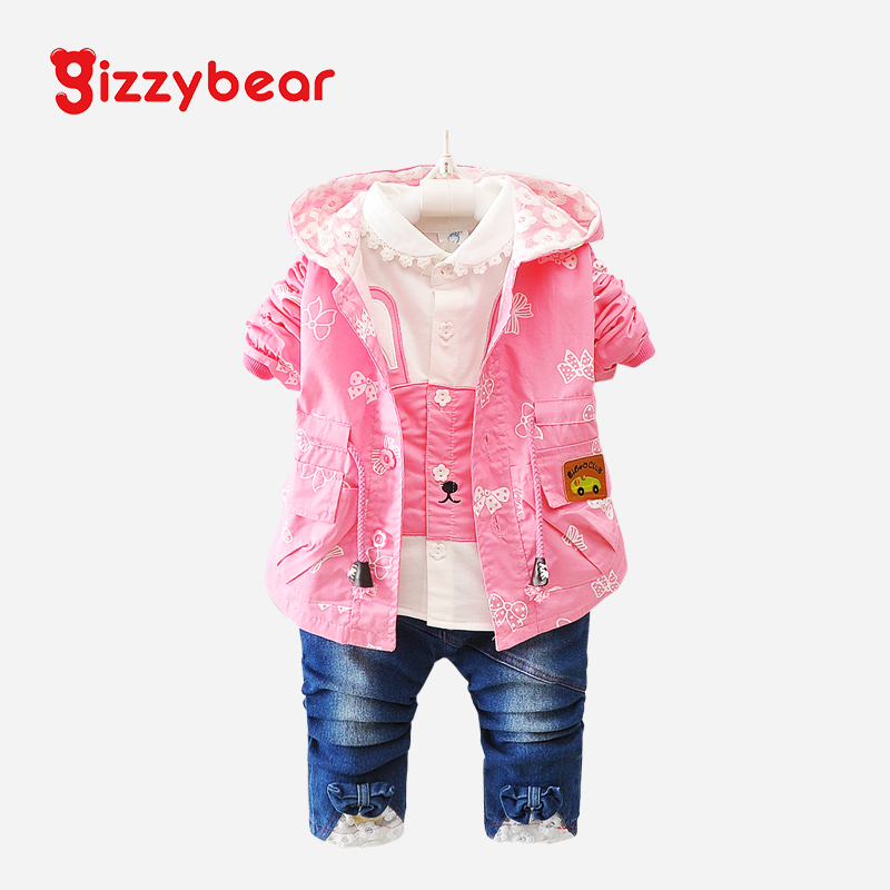 2016 autumn new children's clothing children's suits 0-1-2-3-year-old female baby spring and autumn children's clothing girls three piece tide