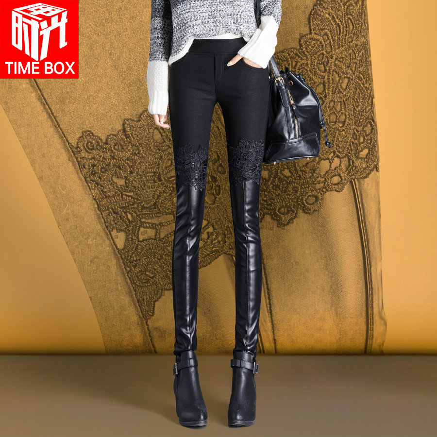2016 autumn new korean lace stitching pu leather pants female outer wear thin section feet pants tight body plus velvet backing trousers