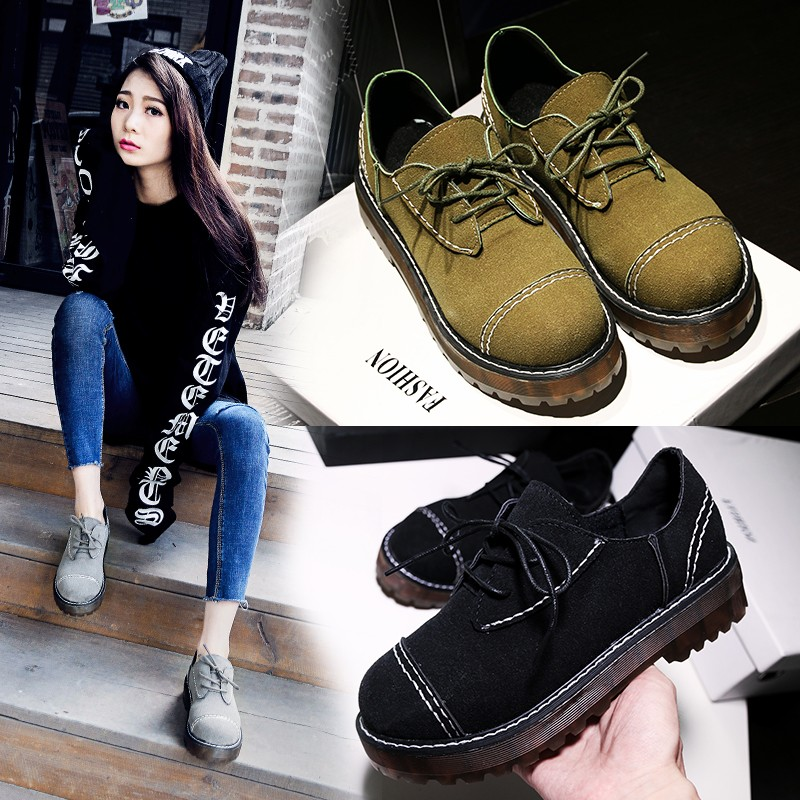 2016 autumn thick crust nubuck leather lace retro shoes women shoes tendon thick crust muffin england college wind shoes