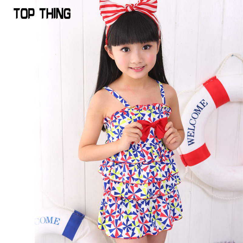 4cd049ad7031a Get Quotations · 2016 children's swimsuit girls split skirt style  conservative swimsuit big virgin windmill crushed flowers cute swimsuit