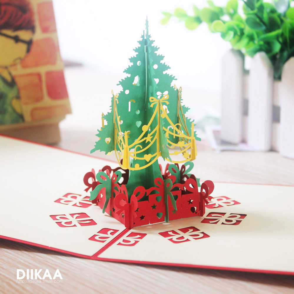 2016 christmas gift korean version of the three-dimensional greeting cards creative paper cutting paper sculpture business wish foca 3d small card