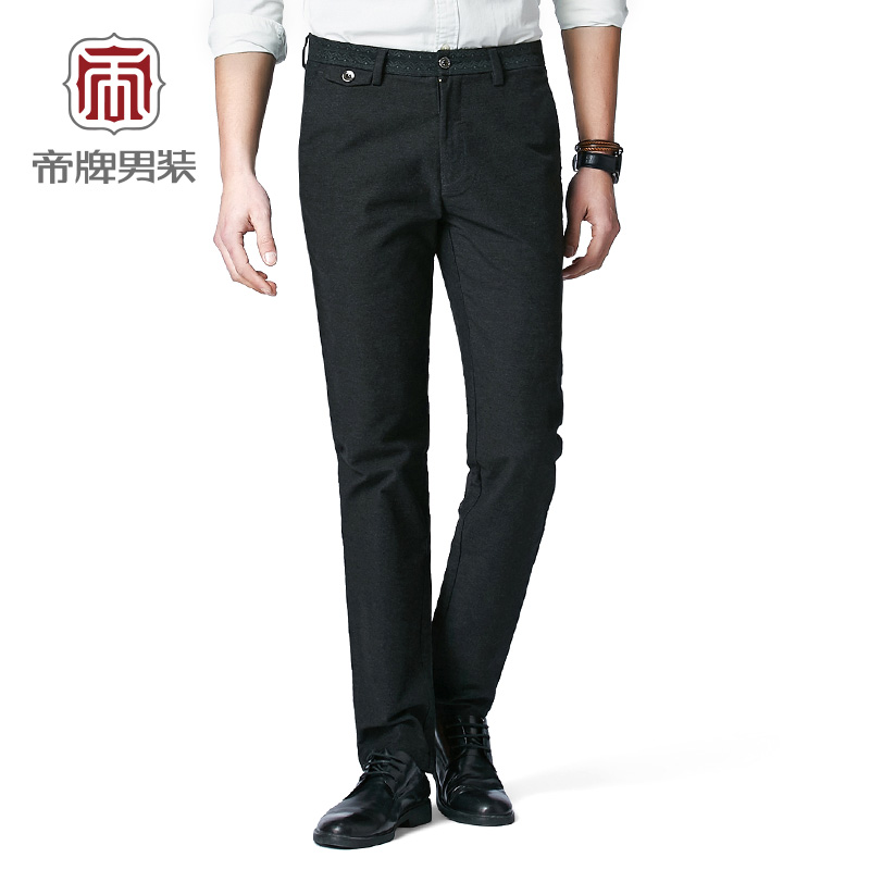 2016 emperor brand men casual pants washed slim trousers spring and autumn paragraph solid color micro elastic tube straight business casual trousers