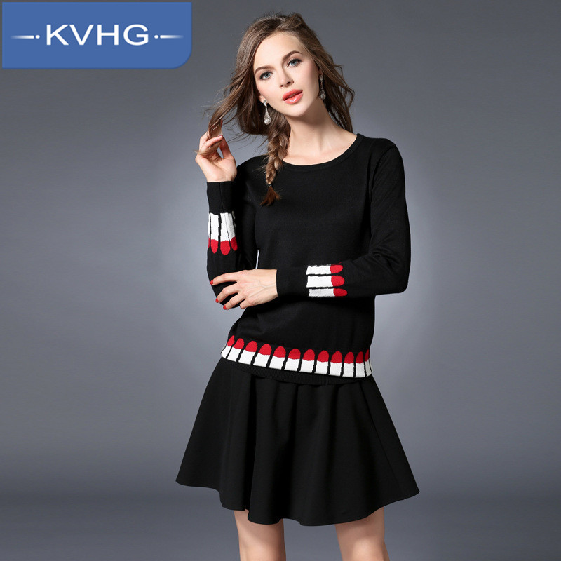 2016 european and american fashion simple large size women knit tops hedging kvhg ride round neck new autumn 5938
